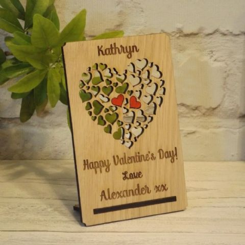 Personalised Valentine's Day Filigree Love Hearts Card Plaque, Valentine Gift